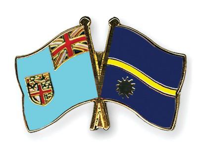 Crossed Flag Pins Fiji-Nauru