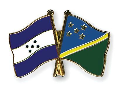 Crossed Flag Pins Honduras-Solomon-Islands