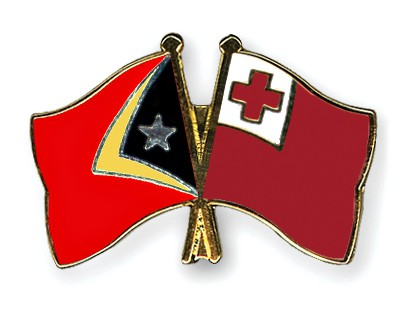 Crossed Flag Pins Timor-Leste-Tonga