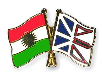 Crossed Flag Pins Kurdistan-Newfoundland-and-Labrador