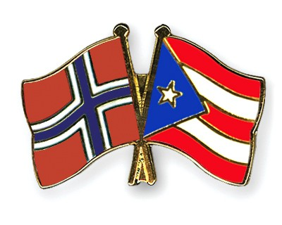 Crossed Flag Pins Norway-Puerto-Rico