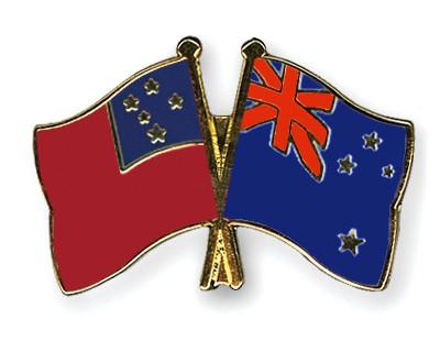 Crossed Flag Pins Samoa-New-Zealand