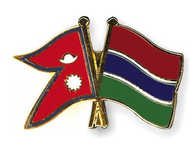 Crossed Flag Pins Nepal-Gambia