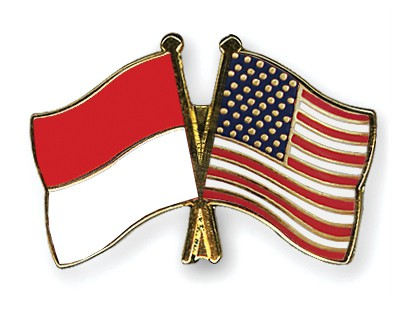 Crossed Flag Pins Indonesia-USA