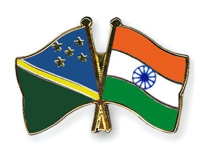 Crossed Flag Pins Solomon-Islands-India