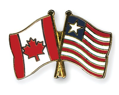 Special Offer Crossed Flag Pins Canada-Liberia