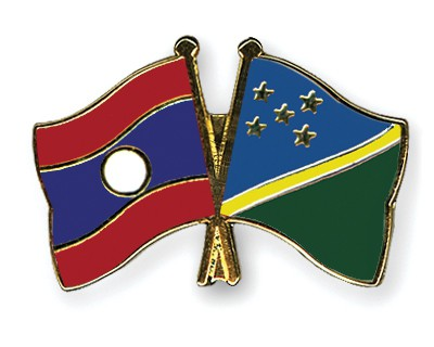 Crossed Flag Pins Laos-Solomon-Islands
