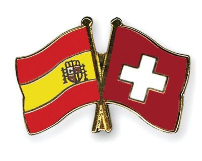 Crossed Flag Pins Spain-Switzerland