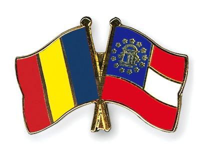 Crossed Flag Pins Romania-Georgia