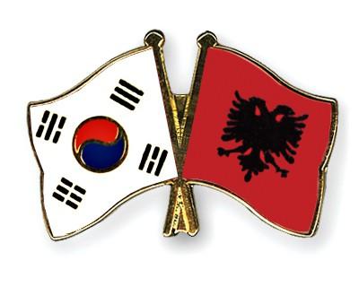 Crossed Flag Pins South-Korea-Albania