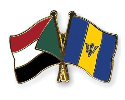 Crossed Flag Pins Sudan-Barbados
