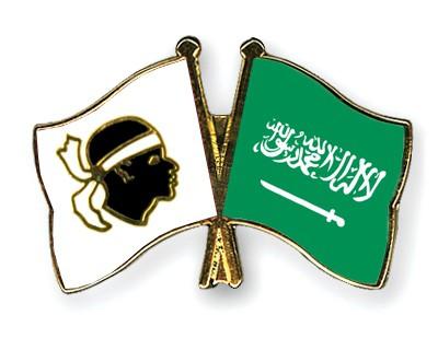 Crossed Flag Pins Corsica-Saudi-Arabia