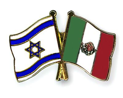 Crossed Flag Pins Israel-Mexico