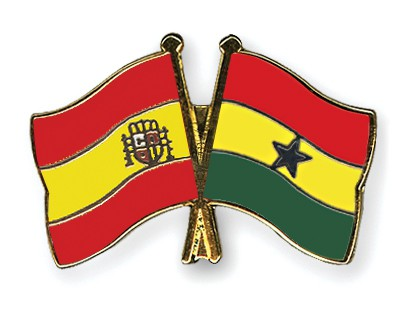 Crossed Flag Pins Spain-Ghana