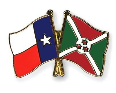 Crossed Flag Pins Texas-Burundi