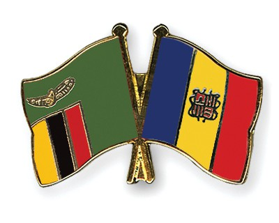 Crossed Flag Pins Zambia-Andorra