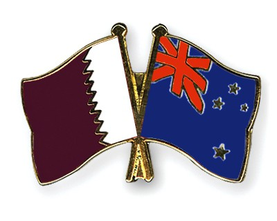 Special Offer Crossed Flag Pins Qatar-New-Zealand