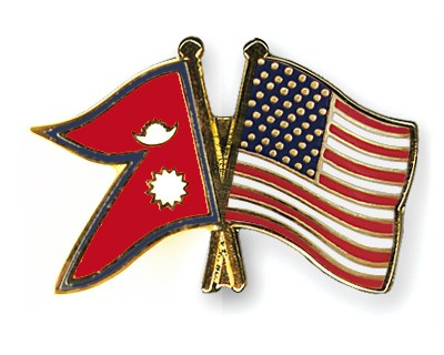 Special Offer Crossed Flag Pins Nepal-USA