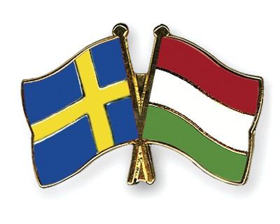 Special Offer Crossed Flag Pins Sweden-Hungary
