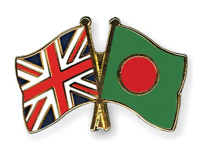 Crossed Flag Pins Great-Britain-Bangladesh