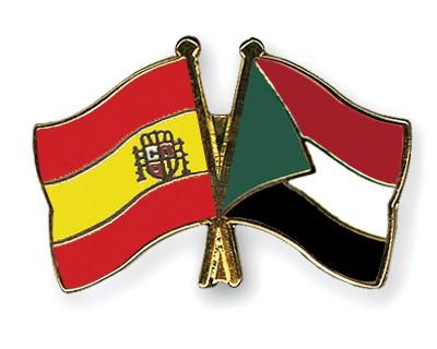Crossed Flag Pins Spain-Sudan