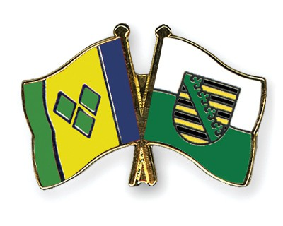 Crossed Flag Pins Saint-Vincent-and-the-Grenadines-Saxony