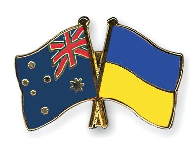 Special Offer Crossed Flag Pins Australia-Ukraine