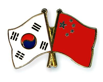 Crossed Flag Pins South-Korea-China