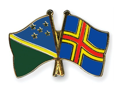 Crossed Flag Pins Solomon-Islands-Aland