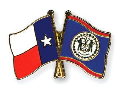 Crossed Flag Pins Texas-Belize
