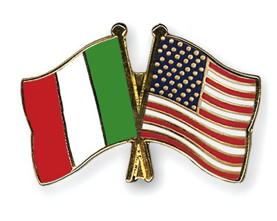 Crossed Flag Pins Italy-USA