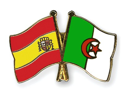 Crossed Flag Pins Spain-Algeria