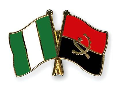 Crossed Flag Pins Nigeria-Angola