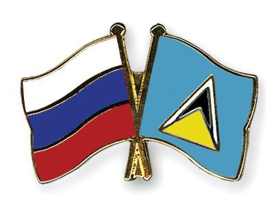 Crossed Flag Pins Russia-Saint-Lucia