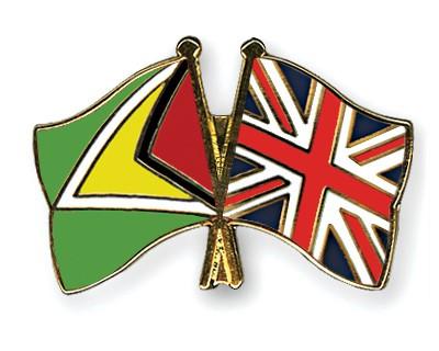 Crossed Flag Pins Guyana-Great-Britain