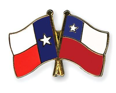 Crossed Flag Pins Texas-Chile