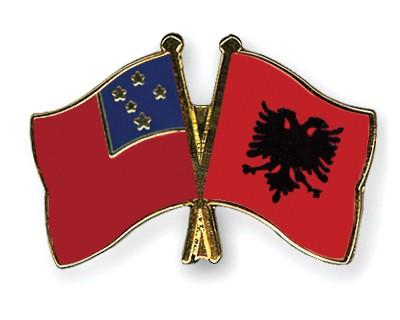Crossed Flag Pins Samoa-Albania