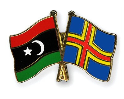 Crossed Flag Pins Libya-Aland