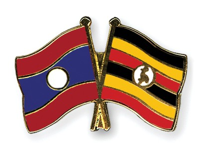 Crossed Flag Pins Laos-Uganda