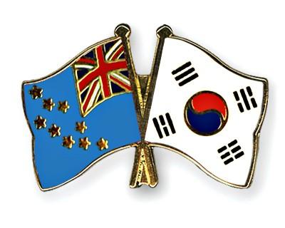 Crossed Flag Pins Tuvalu-South-Korea