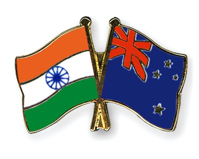 Crossed Flag Pins India-New-Zealand