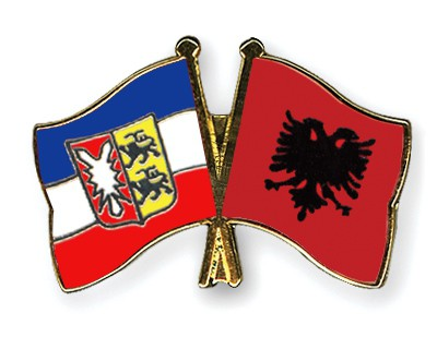 Crossed Flag Pins Schleswig-Holstein-Albania