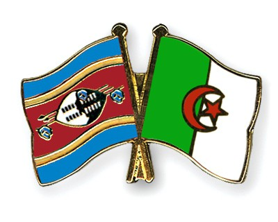 Crossed Flag Pins Swaziland-Algeria