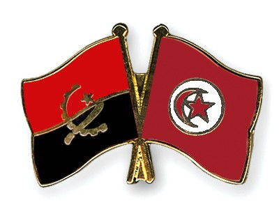 Crossed Flag Pins Angola-Tunisia