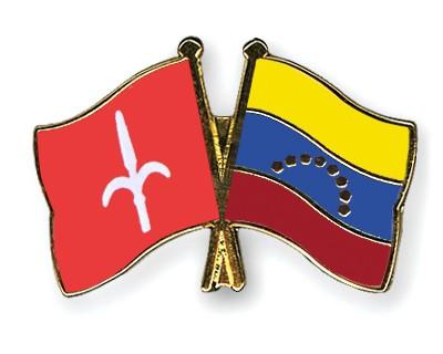 Crossed Flag Pins Trieste-Venezuela