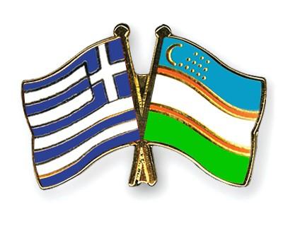 Crossed Flag Pins Greece-Uzbekistan