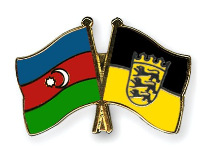 Crossed Flag Pins Azerbaijan-Baden-Wuerttemberg
