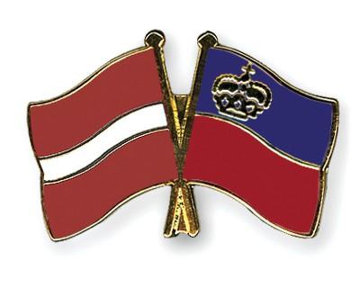 Crossed Flag Pins Latvia-Liechtenstein