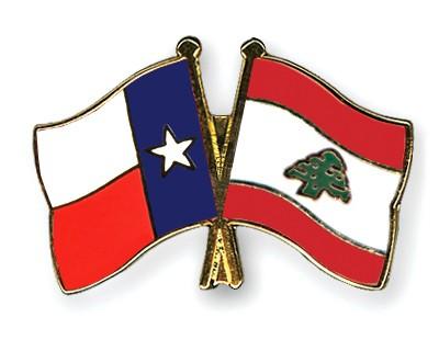 Crossed Flag Pins Texas-Lebanon