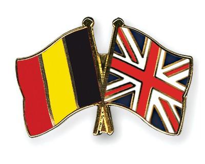 Special Offer Crossed Flag Pins Belgium-Great Britain
